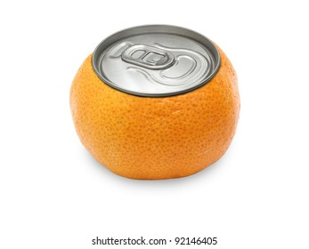 tangerine on white background, with a cover of gin.