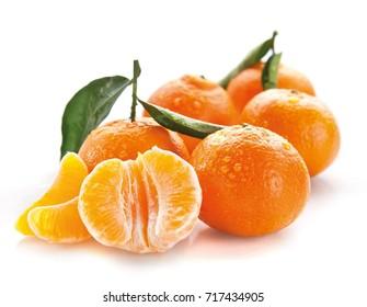 Tangerine on white background isolated food raw
