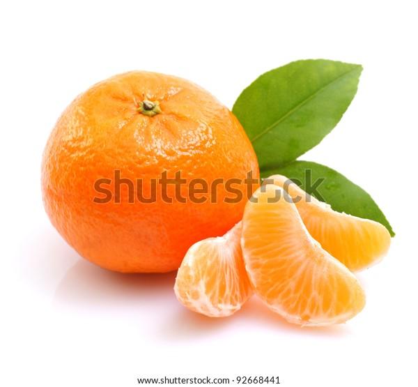 Tangerine on white ground