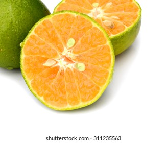 tangerine orange on white background
