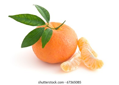 Tangerine Orange and segments isolated on white background