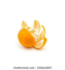 a tangerine peeled on a white surface