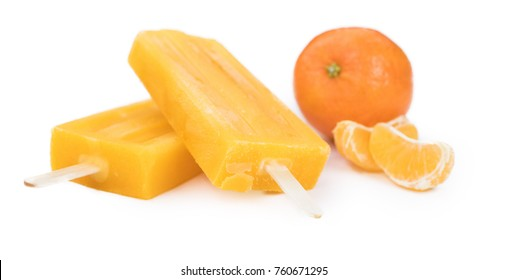 Tangerine Popsicles isolated on a white background (detailed close-up shot)