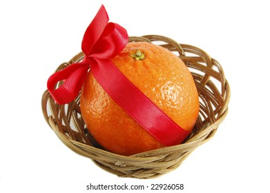 tangerine in pottle isolated on the white background