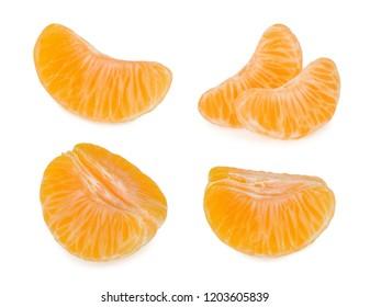 Tangerine slices isolated on white background