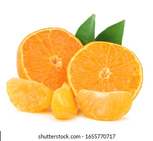 Tangerine slices isolated on the white background
