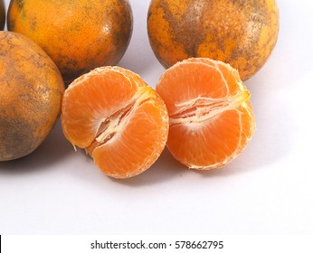 Tangerine, Ugly Tangerine Skin. Close up group of ugly tangerine or orange isolate on white background.