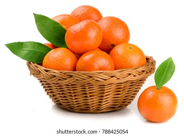 tangerines in basket on white background