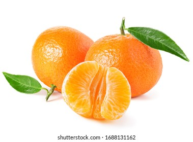 Tangerines or clementines with green leaf on white background
