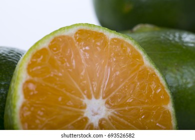 Tangerines are cooling off in the white background