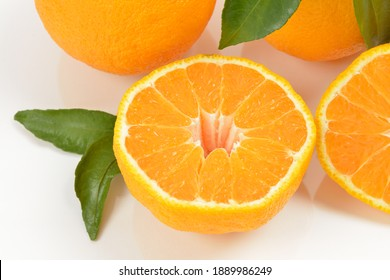 Tangerines Hallabong with half cuts on white background, South Korea. It is a cultivar of citrus fruits bred in Japan in 1972