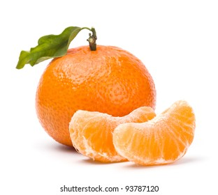 tangerines with leaves and segments isolated on white