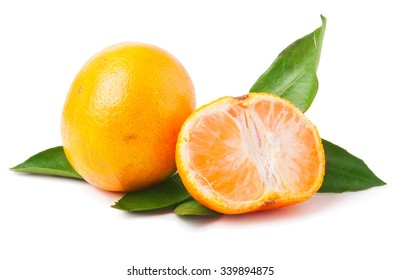 Tangerines with leaves and slices on white background.