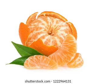 Tangerines with slices isolated on white background