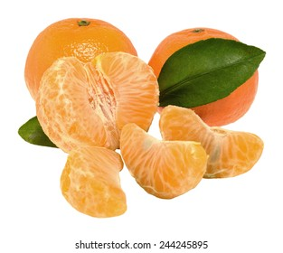 tangerines with slices on a white background