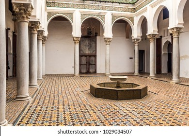 Tangier, Morocco, April 05, 2017: Courtyard interior of the Palace of the Kasbah in the Tangier's medina