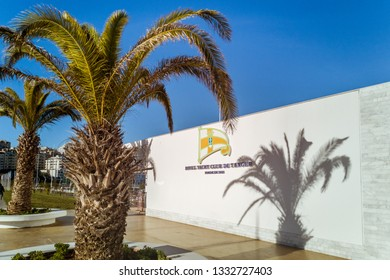 Tangier, Morocco, December 21, 2018: Building of Royal Yatch Club de Tanger in the new marina of Tangier, north of Morocco