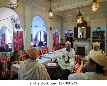 Tangier, Morocco - June 2016: Moroccan restaurant interior Members of Traditional Muslim Moroccan band