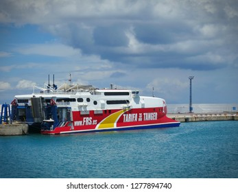 TANGIER, MOROCCO - JUNE 2018: The fast ferry ship from Tarifa, Spain to Tangier, Morocco