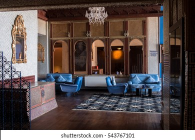 TANGIER, MOROCCO - JUNE 9, 2016: Beautiful interior design of an hotel in Tangier city, Morocco.