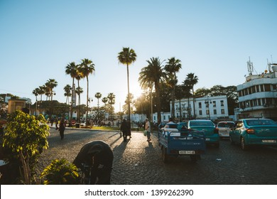 TANGIER, MOROCCO, MAY 11TH, 2019: Grand Socco (meaning Big Square, officially known as Place du Grand 9 Avril 1947) is a square in the medina area of central Tangier, Morocco.