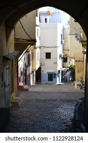 TANGIER, MOROCCO - NOVEMBER 9, 2015: Old street in Tangier
