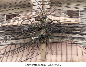 The tangle of cables and wires in city.