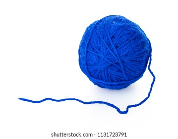tangle of thread for knitting on white isolated background