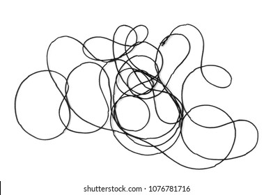 Tangled black thread on white background.