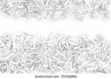 A tangled pile of white geometric confetti shapes on a bright background.  3D illustration.  Space for text upper third.