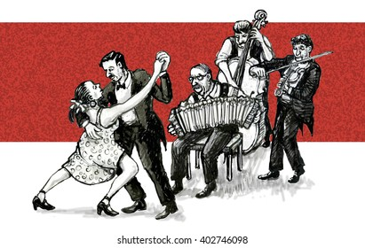 tango dancers and musicians