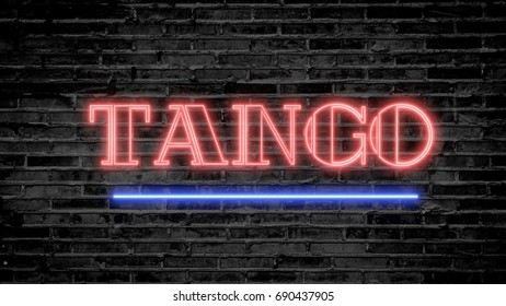 Tango neon sign on dark brick wall - background image