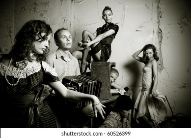 Tango passion photo. Dancers and musicians band