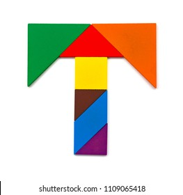 tangram shaped like a letter T on white background