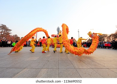 Tangshan City - February 20, 2018: dragon dance performance in parks, Tangshan City, Hebei, China