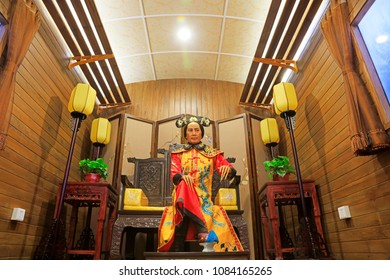 Tangshan City - February 26, 2018: the wax statue of Queen Ci Xi in Qing Dynasty in the exhibition hall, Tangshan City, Hebei, China.