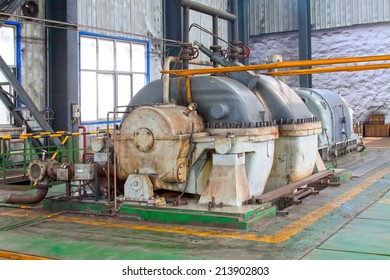 TANGSHAN - JUNE 18: Blast furnace gas residual pressure turbine generator set - TRT, in a iron and steel co., on June 18, 2014, Tangshan city, Hebei Province, China