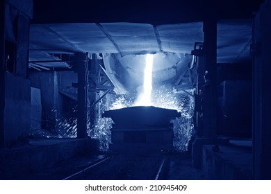 TANGSHAN - JUNE 18: converter dumping steel slag in iron and steel co., on June 18, 2014, Tangshan city, Hebei Province, China