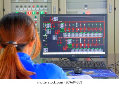 TANGSHAN - JUNE 18: Female technician in view display state in the control room, in a iron and steel co., on June 18, 2014, Tangshan city, Hebei Province, China