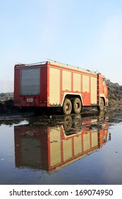 TANGSHAN - NOVEMBER 20: The prepare to leave the scene of the fire fighting vehicles and personnel after the fire, November 20, 2013, tangshan city, hebei province, China.