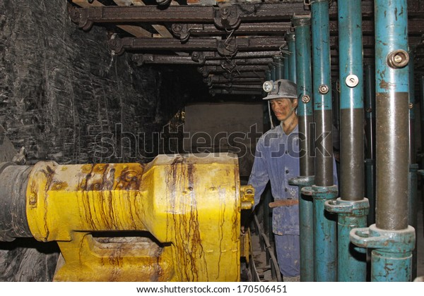 TANGSHAN - OCTOBER 18: The Mechanized sculpture in 70 meters underground in the Kailuan national mine park on october 18, 2013, tangshan city, hebei province, China.