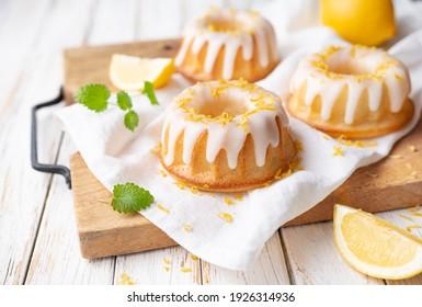 Tangy mini lemon bundt cakes topped with lemon glaze