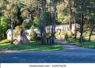 Tanjil Bren, Australia - October 18, 2015: Moose Head Lodge is an isolated off grid lodge at the foot of Mount Baw Baw, a popular ski resort.