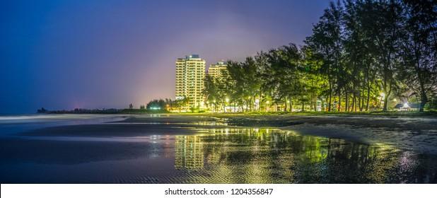 Tanjong Lobang Beach Miri at Night