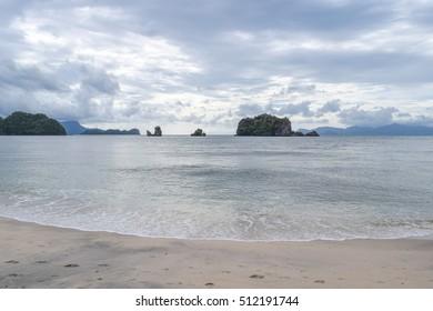 Tanjung beach of Langkawi island. Strait of Malacca. Andaman sea. Malaysia