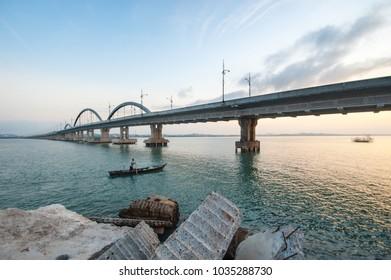"Tanjung Pinang, Bintan, Riau Island, February 2018:""Dompak Bridge"""
