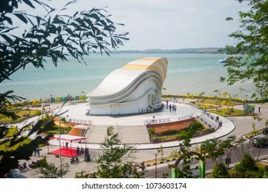 "Tanjung Pinang, Riau Island, Indonesia, February 2018:""Welcome to Tanjung Pinang"""