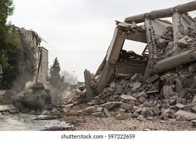 Tank amongst city ruins
