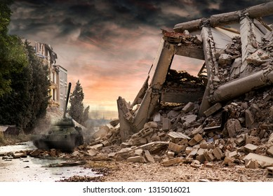 Tank  amongst city ruins with dramatic red and dusty clouds.