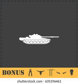 Tank army icon flat. Simple illustration symbol and bonus pictogram